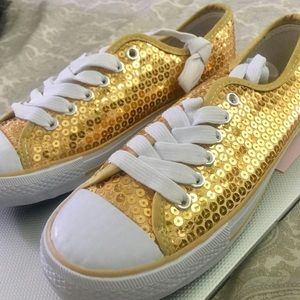 Shoes - Gold sequined size 8 Brand New Sneakers